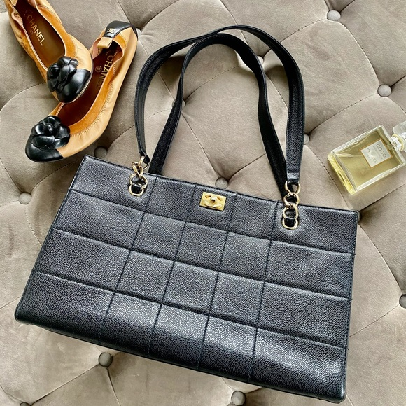 Chanel Chocolate Bar Quilt Caviar Tote